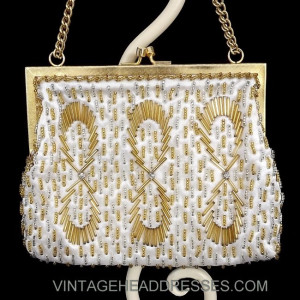 Vintage Gold Ivory and Silver Beaded Bag