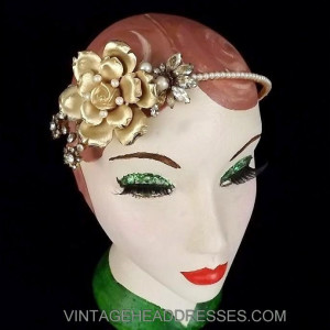 Gold Floral Bridal Headpiece