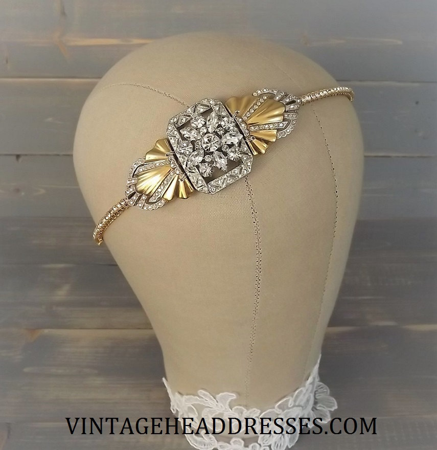 vintage gold and silver headband by vintage headdresses