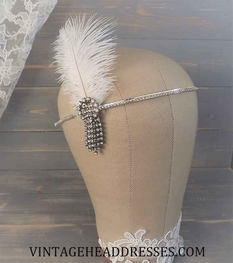 Art Deco Ostrich Feather Headband By Vintage Headdresses