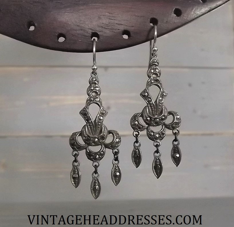 Vintage art deco marcasite earrings by debbi harrison bond art deco marcasite earrings aloadofball Image collections