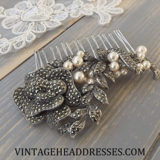 hair jewelry Blue Rhinestone Antique Headdress Hair Accessory Tortoise Celluloid Art Deco Hair Comb